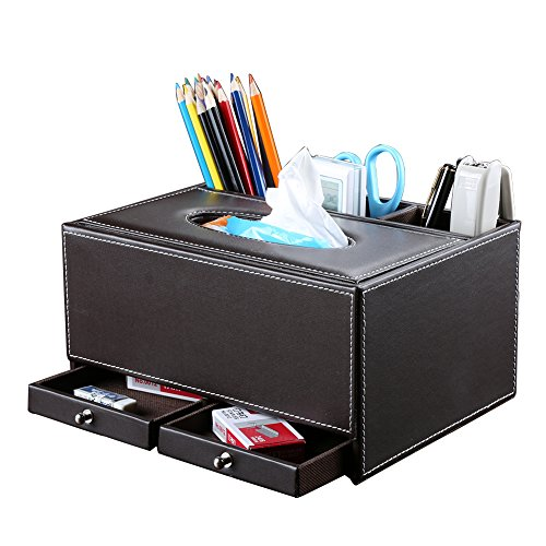 KINGFOM Creative Tissue Box Holder with 3 Compartments Holder and 2 Small Drawer, Multi-function PU leather Tissue Box Cover Desk Organizer (Classic Brown)