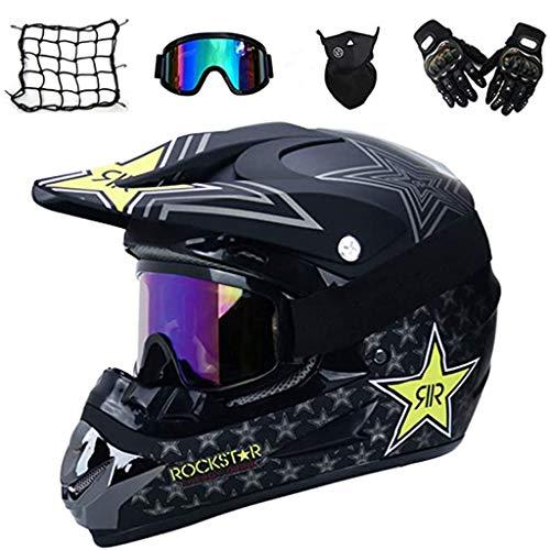 ZUCAI Casco de MTB de cara completa, juego de casco de moto todoterreno, con gafas y guantes de máscara de casco, para downhill Off Road Quad Bike Enduro Racing, S
