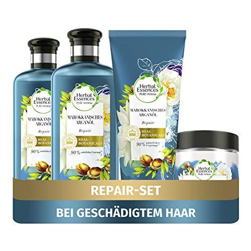 Herbal Essences PURE:renew Haarpflege Set: 2x Marokkanisches Arganöl, Repair Shampoo 250 ml + 1x Pflegespülung 200 ml + 1x Haarmaske 250 ml, Haarpflege Arganöl, Haarpflege Glanz, Shampoo Damen