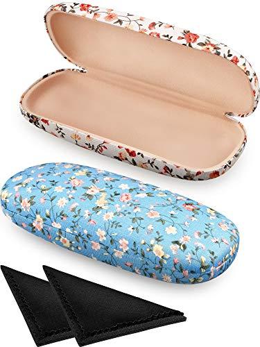 2 Stücke Brillenetui Box Tragbare Harte Brillenetui Stoffe Blumen Brillenetui Brillen Box Fall für Brillen (Weiß,Blau)