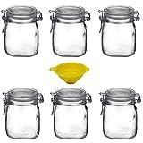 Viva Haushaltswaren - 6 x Bügelglas 750 ml mit Verschluss, eckiges Drahtbügelglas zum Befüllen als Einmachgläser, Weckgläser, Vorratsdosen etc. verwendbar (inkl. Trichter)