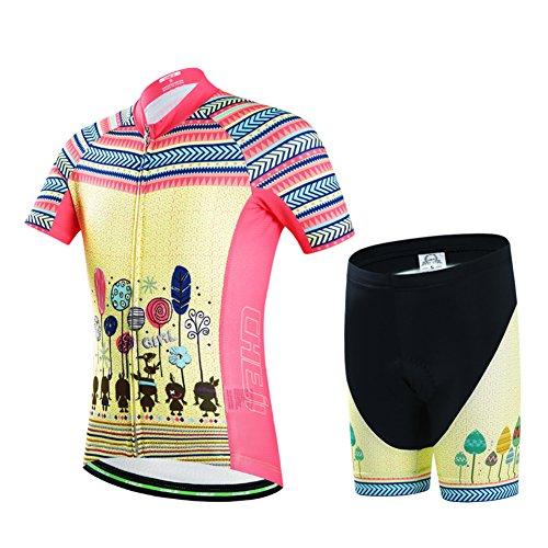 YFPICO - Radsport-Anzüge für Mädchen in Rot+Gelb, Größe 122/128