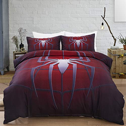 3D Printed Spider Bedding Set for Children Teens Spider Web Pattern Duvet Cover Set with 2 Pillowcases Dark Red Microfiber Quilt Cover with Zipper Closure Double 200x200cm