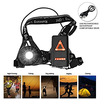 Abosea Lampe Course à Pied, Lumière de Course à LED de Jogging, Lumière de Course Rechargeable USB pour Sport, Lumière de Poitrine Étanche, Bande Réfléchissante pour Jogging, la Pêche de Nuit, Camping