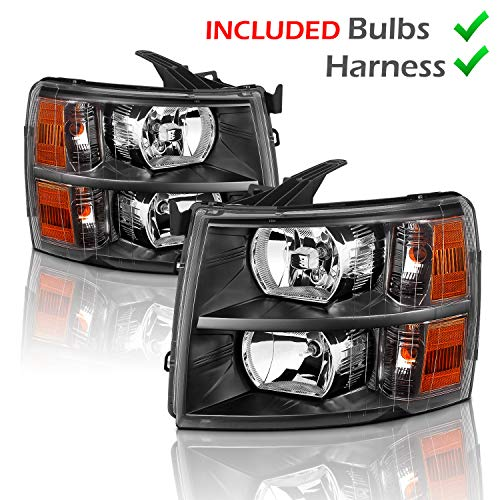AmeriLite for 2007-2013 Chevy Silverado 1500/07-14 Silverado 2500HD 3500HD OEM Style Black Replacement Headlights w/Bulb and Harness Amber Reflector Set - Passenger & Driver
