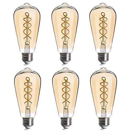 FLSNT LED Vintage Edison Light Bulbs 40 Watts Equivalent,ST21/ST64 Dimmable 4.5W LED Flexible Spiral Filament Decorative Light Bulbs,2200K Warm White,300LM,E26 Base,Amber Glass,6 Pack