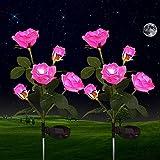 Luces Solares de Flores de Rosas, ZVO 2 Piezas10 LED Luces Solares Exterior Jardín, IP65 Lampara de Jardín de Rosas Al Aire Libre, Iluminación Decorativa para Jardín, Patio, Entrada, Caminos(Rosa)