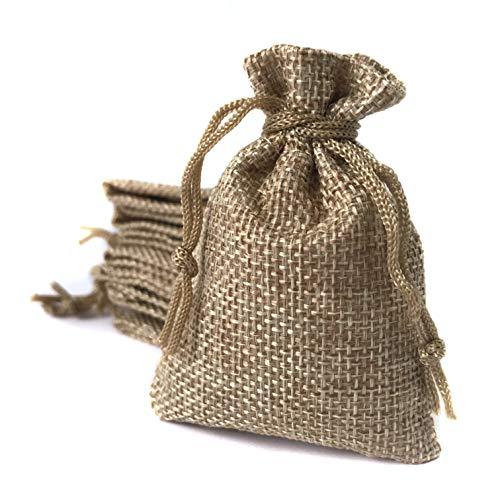 Bolsa de lino 6,5*9 cm (25 bolsas) Saquito para regalos, detalles, recuerdos, obsequios, artesanía, bricolaje, joyería, arroz, navidad, eventos, DIY. Bolsitas de tela de saco/arpillera/yute con cordón