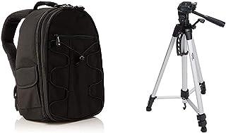 AmazonBasics - Mochila para cámara réflex y Accesorios Color Negro + Trípode Ligero Completo (Bolsa Cabezal panorámico de 3 Posiciones Zapata rápida) Color Negro