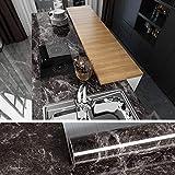 VEELIKE Papel Pintado Autoadhesivo Lavable Adhesivo para Encimera de Cocina Papel Pared Muebles de Mármol Negro y Marrón para Puertas de Armario 40cm x 600cm