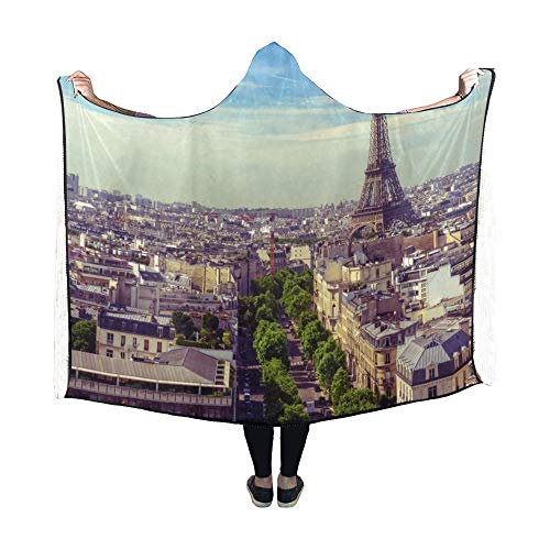 Zemivs Couverture à Capuche Skyline Paris Tour Eiffel Paris France Couverture 60x50 Pouces Comfotable Wrap à Capuche