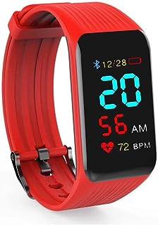 AIFB Monitor de sueño Pulsera Inteligente, Impermeable Pulsómetro podómetro Contador de calorias Rastreador de Ejercicios Bluetooth Empuje de notificación para Android iOS Phone,Red-OneSize