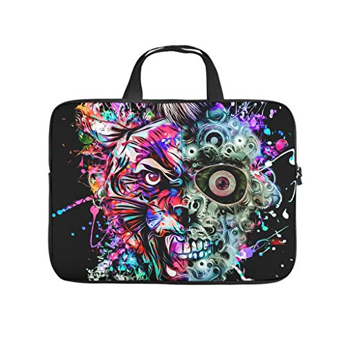 Machine Skull Eyes Tiger 3D Print Laptop Case Protective Sleeve Slim Neoprene Laptop Bag Case Funny Notebook Bag Sleeve Case for Boyfriend Girlfriend