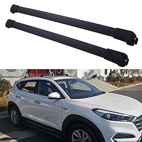 2 piezas Bacas para vehículos Barras de techo de aluminio para Hyundai Tucson 2015-2019, portaequipajes de techo con barra transversal para equipaje de bicicleta para viajes