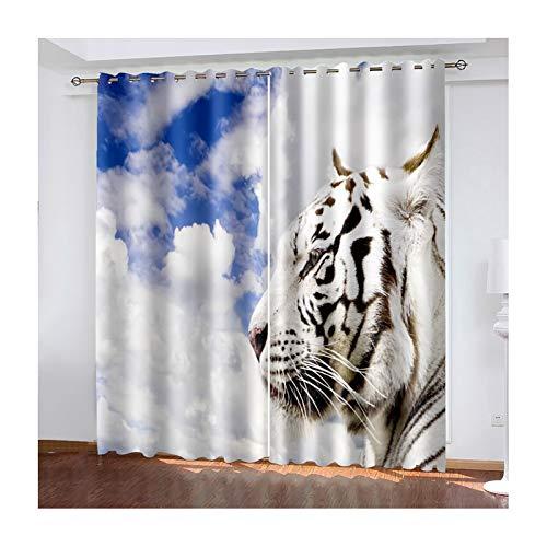Daesar Rideau Lot de 2, Rideau Chambre Blanc Bleu Rideaux Décoratifs Tigre Rideau Moderne pour Salon 137x160CM