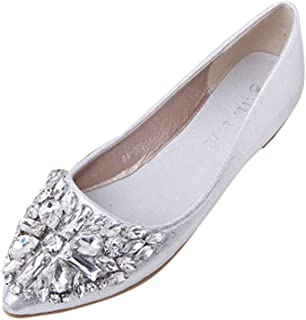 a394b23d64937 OCEAN-STORE Low Heel Flat Shoes Women s Pointed Toe Ladise Shoes Casual  Rhinestone