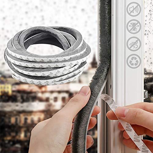 Adhesive Brush Weather Stripping,5 m(L) x9 mm(W) x 9mm(T),High Density Felt Door Brush Draught Excluder,Seal Strip Weatherstrip for Sliding Sash Door Window Front Door, Gray