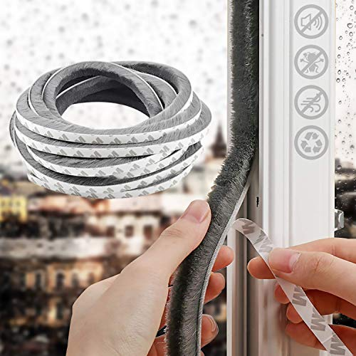 """16.4 Ft Self Adhesive Weather Stripping for Window and Door Stronger Stickiness, Seal Strip Weatherstrip for Sliding Glass Doors,0.35""""0.35"""" Gray (0.35"""
