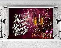 HDシャンパンリボンリング赤紫写真の背景新年会10x7ft綿布パーティー装飾バナー写真スタジオ小道具LYFS1209