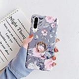 Uposao Cover Compatibile con Huawei P30 Lite Anello Supporto Glitter Brillantini Fiore Rose TPU Gel Gomma Silicone Bling Strass Ring Anello Supporto Bumper,Fiori Blu