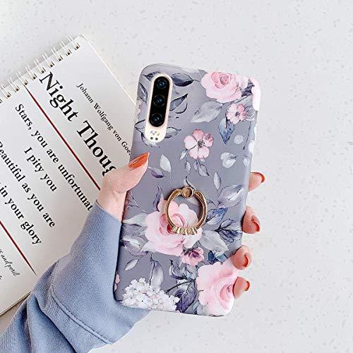 Uposao Kompatibel mit Huawei P30 Lite Hülle mit 360 Grad Ring Ständer Blumen Blätter Muster Silikon Ultra Dünn TPU Bumper Case Kratzfest Durchsichtige Schutzhülle Case,Grau Blume