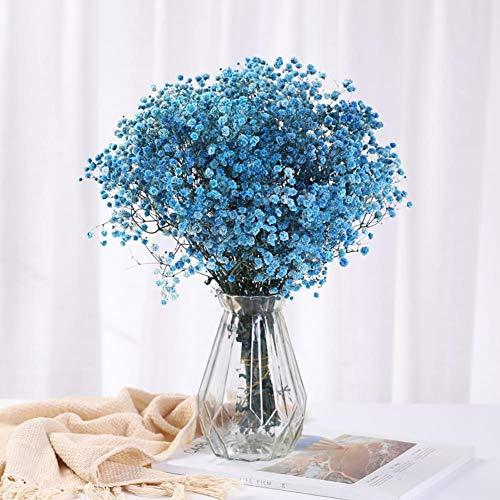 Yoommd Flores secas Gypsophila artificiales, flores secas, flores de seda con jarrón de cristal, flores secas para ramo de flores, decoración de bodas, decoración de interiores, decoración de oficina