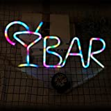 Farbwechselnde BAR-Schilder Bunte LED-Neonschilder mit Weinglas-Alphabet-Buchstaben-BAR-Dekor für...