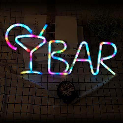 Farbwechselnde BAR-Schilder Bunte LED-Neonschilder mit Weinglas-Alphabet-Buchstaben-BAR-Dekor für vorbeleuchtete Pub-Bar-Schilder Licht, Nachtclub, Wanddekoration 21,6