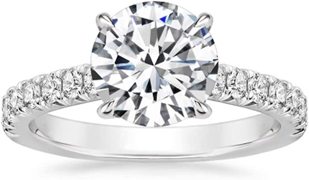 Aihpos 1-1 2021 4 Carat ctw Engagement for Round Max 87% OFF Rings Classic Women