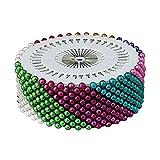 Nigoz - 480 alfileres redondos de perlas de imitación para costura, costura, manualidades, decoración de boda, multicolor
