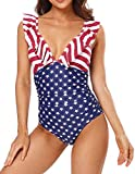 Sociala Ruffle One Piece Bathing Suits for Women July 4th Ruched...