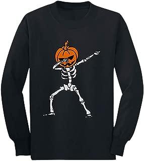 Halloween Dab Jack O' Lantern Dabbing Skeleton Youth Kids Long Sleeve T-Shirt