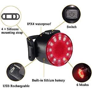 Luces Bicicleta Kit, Impermeable LED Luz Bicicleta, luces Delanteras y Traseras Recargables USB Para Bicicleta, 6 Iluminación Modos Luz Trasera, Luces Seguridad Para Ciclismo de Montaña y Carretera