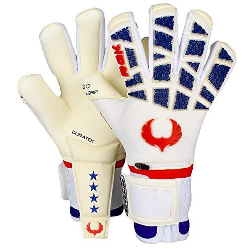 Renegade GK Limitierte Auflage Rogue Outlaw Torwarthandschuhe | 4+3mm Giga Grip Palm & Neoprene Body | Weiß, Rot & Blau Fußball Torwart Handschuhe (Größe 8, Jugend-Erwachsener, Neg. Cut, Level 4+)