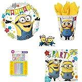 Kit de cumpleaños de Minions de 48 piezas (16 platos, 16 vasos, 16 servilletas + 10 velas mágicas incluidas) para decoración de fiesta de 16 niños