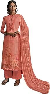 Muslin Pleat & Embroidery Salwar Kameez Cotton Print Bottom Handloom Weaving Suit Formal Women Indian Dress 7745