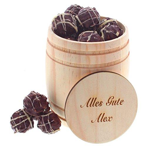 Rotwein-Trüffel im Holzfass mit persönlicher Laser-Gravur als süße Geschenkidee