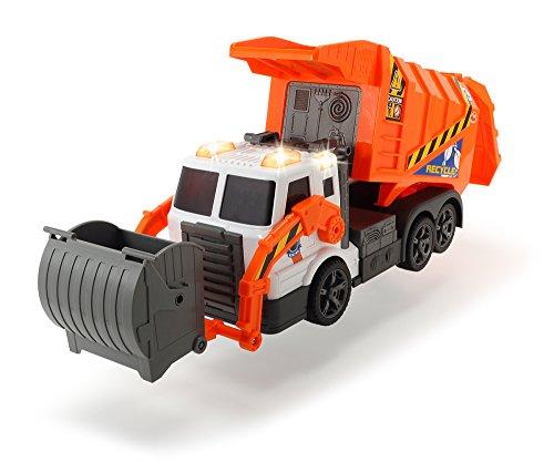 Dickie Toys Müllauto, Müllabfuhrwagen, Müllwagen, Spielzeugauto, batteriebetriebene Gabel mit Mülltonne, Kippfunktion, Licht & Sound, inkl. Batterien, 46 cm groß, ab 3 Jahren