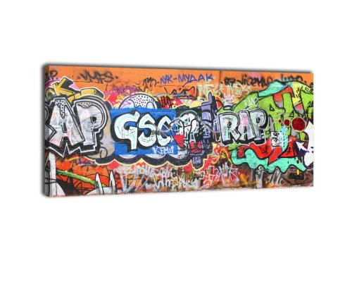 wandmotiv24 Leinwandbild Panorama Nr. 68 Graffiti 1 100x40cm, Keilrahmenbild, Bild auf Leinwand, Kunstdruck Street Art Tagging Bunt
