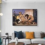 LPaWD Peleas de gallos Jean-Leon Gerome Pintura Romanticismo clásico Arte de la Lona Pintura al óleo Carteles de Pared Retro Habitación Decoración del hogar Mural A3 60x90cm