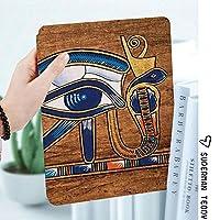 IPad 2/3/4 ケース 超薄型 超軽量 TPU ソフトスマートカバー オートスリープ機能 衝撃吸収 2つ折りスタンドApple iPad 4世代、新iPad 3(3rd Gen)&iPad 2ホルスアイモザイクデザインを描いたエジプトの古代芸術パピルス