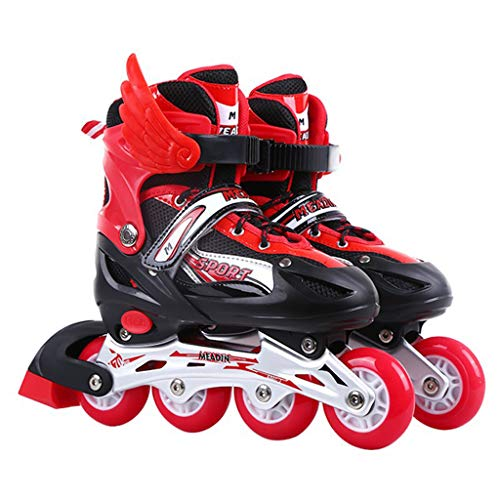 Adjustable Inline Skates for Children, Lights Up Flashing Adjustable Size Inline Roller Skates Best Gifts for Kids Adult Boys and Girls,B,S