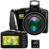 Digital Camera, 2.7K 48MP Full HD Point and Shoot Camera with 3' LCD Screen, Portable Mini Compact YouTube Vlogging Blogging Camera for Beginners Students