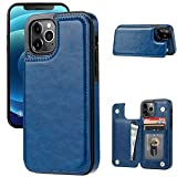 JOYAKI Wallet Case Compatible with iPhone 12 Pro max,Slim Protective case with Card Holder,Premium PU Leather Kickstand Card Slots Case with Double Magnetic Clasp for iPhone 12pro max(6.7')-Deepblue