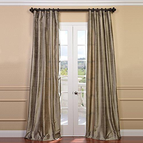 HPD Half Price Drapes DIS-ID7806-84 Textured Dupioni Silk Curtain (1 Panel), 50 X 84, Cashmere