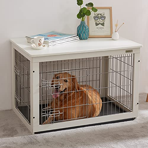 SIMPLY+ Wooden Dog Crate with Slide Tray, Wooden Wire Dog Kennels with Double Doors, Detachable Top Cover Indoor Pet Crate Side Table,Chew-Proof (37' L24.2 W26 H, White)