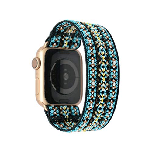Tefeca Orchid Embroidery Pattern Elastic Compatible/Replacement Band for Apple Watch 38mm/40mm (Gold Adapter, XS fits Wrist Size : 5.5-6.0 inch)