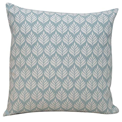 Linen Loft Scandi Minimalist Leaf Cushion Cover in Duck Egg Blue. Double Sided. 17x17 Square Pillow Case. Handmade in the UK, 100% Cotton. Scandinavian Botanical Floral Design.