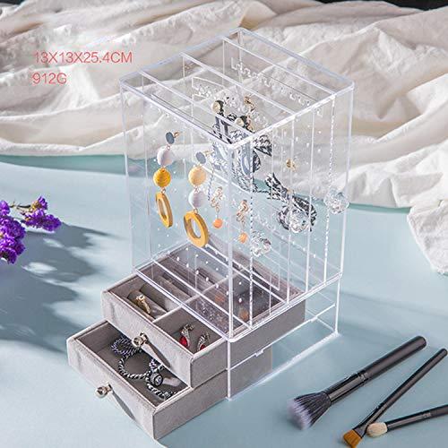 Fostudork Ohrringe Geschenk Organizer, Acryl Transparent Kristallschmuck Zeige Regal Halskette Rack-Box Ohrringe Aufhänger-Nagel-Kunst-Ausstellungsstand, Weiss