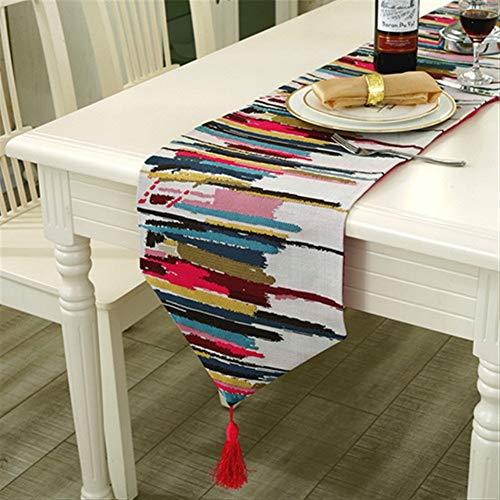Tabla Corredor de Nylon de Colores Runner Mantel con borlas Cutwork Bordado Camino de Mesa (Color : Red, Size : 30x180cm)